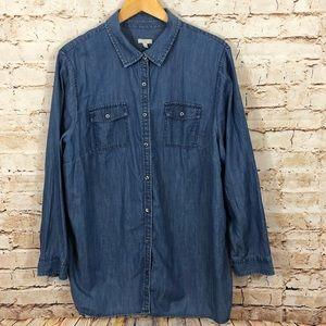 Talbots Denim button front Shirt womens 3X top